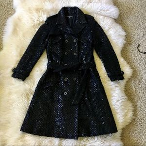Chanel Black Wool Blend Sequin Trench Coat 38 S-M